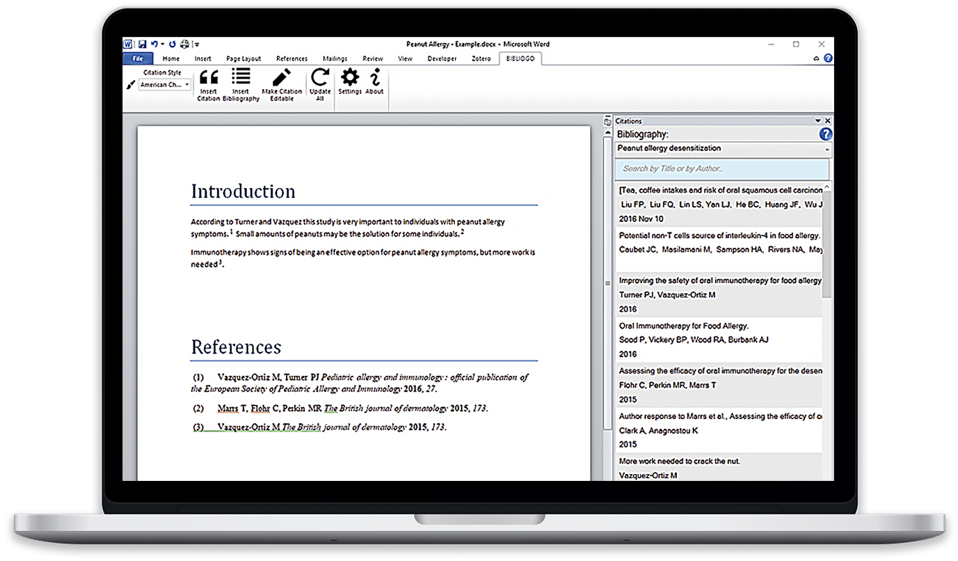 Microsoft Word add-in connecting Word to Bibliogo reference manager for fast efficient citing